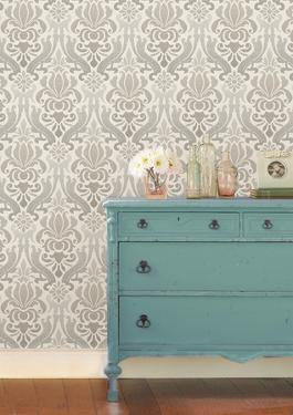 Grey Nouveau Damask L Stick Wallpaper