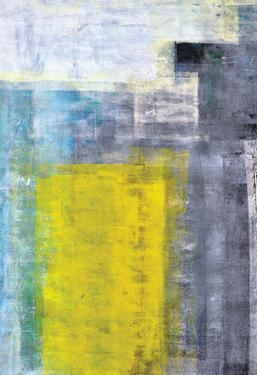 Grey, Teal And Yellow Abstract Art Painting