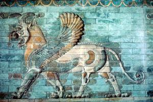 Griffin-Lion Relief in Glazed Brickwork, Achaemenid Period, Ancient Persia, 530-330 Bc