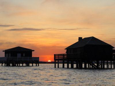 Houses on Stilts at Sunset, Bay of Arcachon, Gironde, Aquitaine, France, Europe