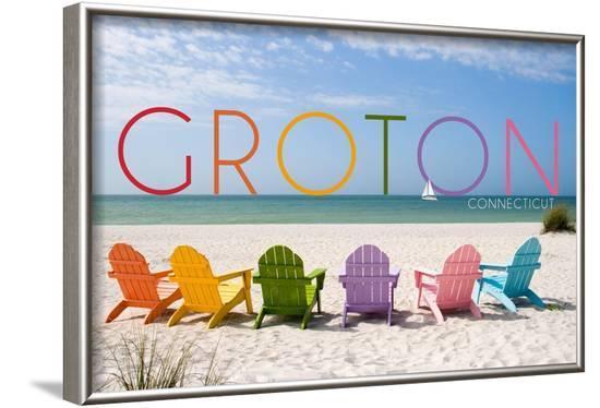 Groton, Connecticut - Colorful Beach Chairs-Lantern Press-Framed Art Print