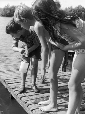 Group of Children Fishing from a Jetty