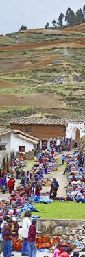 Group of People in a Market, Chinchero Market, Andes Mountains, Urubamba Valley, Cuzco, Peru