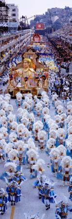 Group of People in Carnaval Parade Rio De Janeiro Brazil