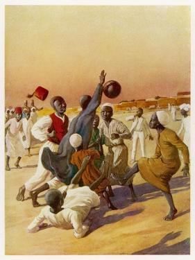 Group of Young Men Play Football in Sudan, are They Aware of the Handball Rule?