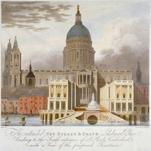 Proposed Riverfront Access to St Paul's Cathedral, City of London, 1826 by GS Tregear