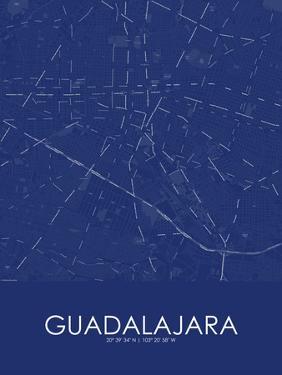 Guadalajara, Mexico Blue Map