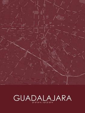 Guadalajara, Mexico Red Map