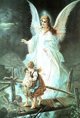 Guardian Angel on Bridge Art Print Poster