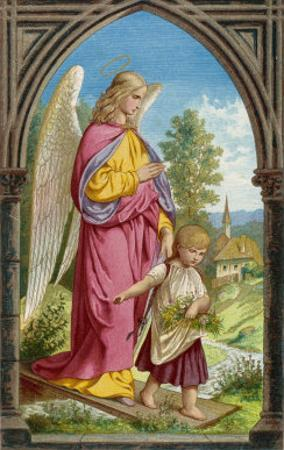 Guardian Angel Watches Over a Small Child as It Gathers Flowers in the German Countryside