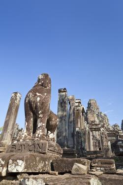 Guardian Lion, Bayon Temple, Angkor Thom, Siem Reap, Cambodia
