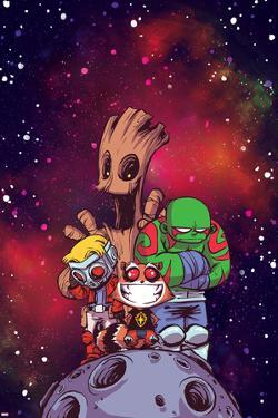 Guardians of the Galaxy Cover Art Featuring: Groot, Star-Lord, Rocket Raccoon, Drax