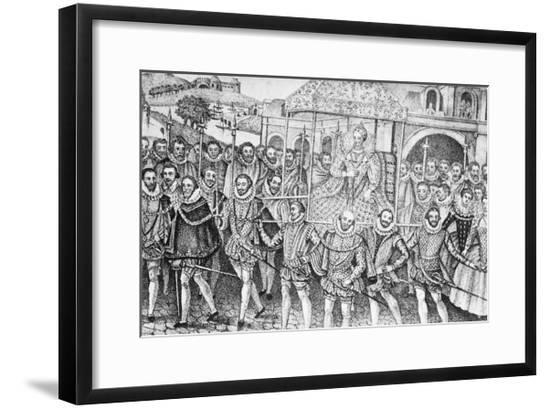 Guards Carrying Queen Elizabeth--Framed Giclee Print