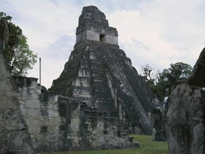 Guatemala, El Peten, Tikal National Park, Temple of the Great Jaguar at Archaeological Site