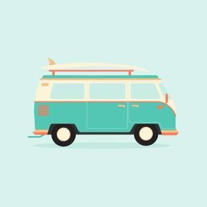Color Full Surfer Van. Transportation and Surfing, Sport Board, Vector Illustration by Guaxinim
