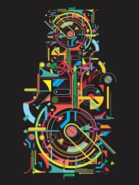 Colorful Abstract Tech Shapes on Black Background,Vector by gudron