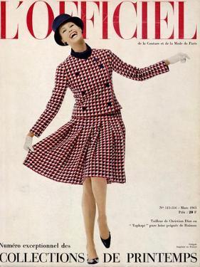 L'Officiel, March 1965 - Tailleur de Christian Dior Entopkapi Pure Laine Peignée de Raimon by Guégan