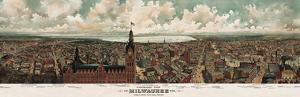 Panoramic View of Milwaukee, Wisconsin, 1898 by Gugler Litho.
