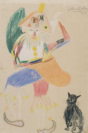 Clown in a Bicorne with a Cat, Drawing Dedicated to Andre Rouveyre, 1916