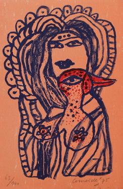 Femme et oiseau au bec rouge by Guillaume Corneille