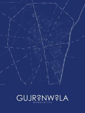 Gujranwala, Pakistan Blue Map