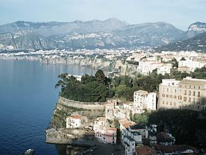 Gulf of Naples Italy Overlooking Sorrento and Nearby Mountains