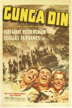 Gunga Din, Cary Grant, Victor McLaglen, Douglas Fairbanks Jr., 1939, poster art