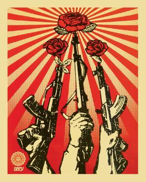 Guns and Roses Obey Art Print Poster