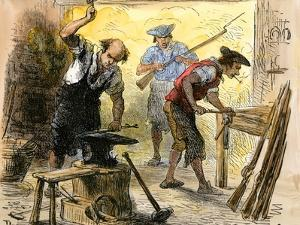 Gunsmiths Forging Muskets for the Minutemen Before the American Revolution, c.1770
