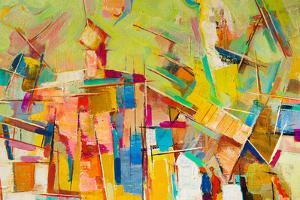 Abstract Colorful Oil Painting on Canvas by Gurgen Bakhshetyan