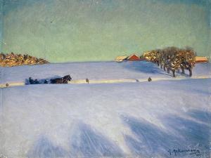 A Sleigh in a Snowbound Landscape by Gustaf Ankarcrona
