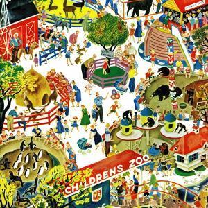 """""""Children's Zoo"""", April 5, 1958 by Gustaf Tenggren"""