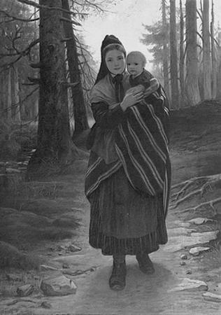 Mother and Child on a Wooded Path