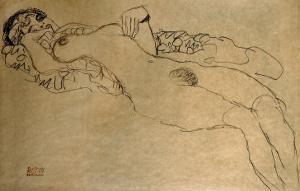 Female Nude Turned Left, 1914/15 by Gustav Klimt