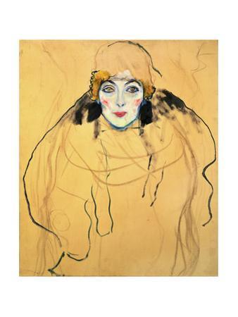 Frauenkopf-Female head,1917 / 18 67 x 56 cm. by Gustav Klimt