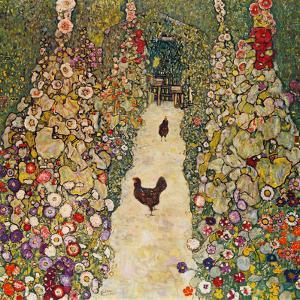 Garden Path with Chickens, 1916, Burned at Schloss Immendorf in 1945 by Gustav Klimt