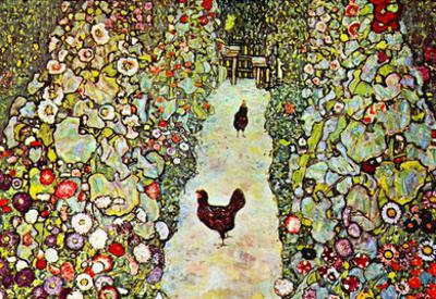 Gustav Klimt Garden Path with Chickens Art Print Poster