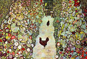 Gustav Klimt Garden Path with Chickens Art Print Poster