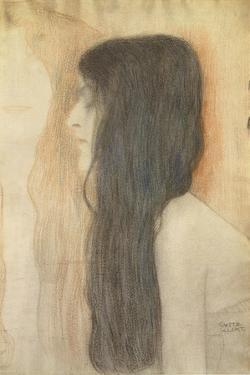 Girl with Long Hair in Profile by Gustav Klimt
