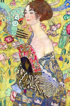 Gustav Klimt Lady with Fan Plastic Sign by Gustav Klimt