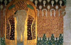 Here's a Kiss to the Whole World!, Detail of the Beethoven Frieze, 1902 by Gustav Klimt