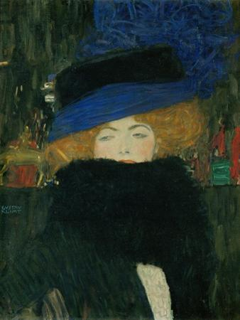 Lady with hat and feather boa. Oil on canvas (1909) 69 x 75 cm. by Gustav Klimt
