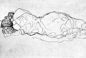 Gustav Klimt Liegende, Back Figure Art Print Poster