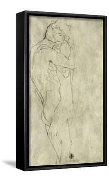 Lovers, Black Crayon (1908) by Gustav Klimt