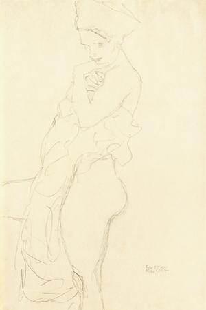Nude Standing Left, Holding a Towel to the Body, 1917 by Gustav Klimt
