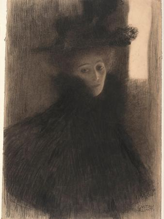 Portrait of a Lady With Cape And Hat by Gustav Klimt