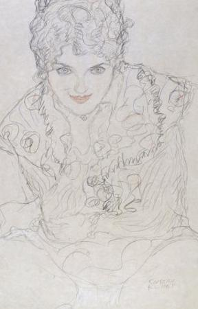 Portrait with Right Hand on Chin, Bildnes Von Vorne, c.1917-1918 by Gustav Klimt