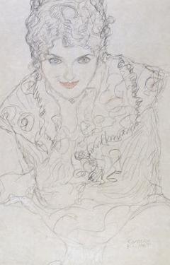 Portrait with Right Hand on Chin, Bildnes Von Vorne, c.1917-1918 by Gustav Klimt