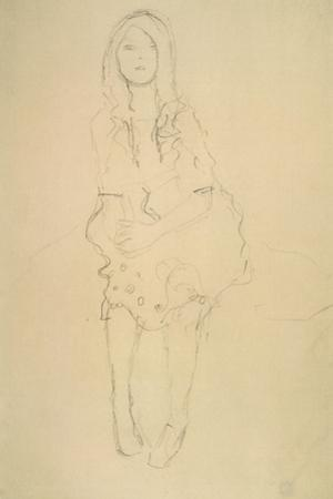Seated Girl Seen from the Front by Gustav Klimt