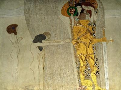 "The ""knight in shining armour"", Detail of 40-17-06/3. Total frieze: 34.14 x 2.15 m. by Gustav Klimt"